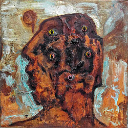 ugly duckling 3, 30cm x 30cm, Bronze and iron corrosion, oil, Plastic, epoxy on canvas,  2017