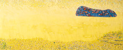 004, 김재신, 섬, 37 x 90 cm(15호), 나무판 위 색조각,