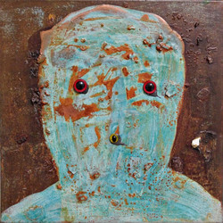 ugly duckling 8, 30cm x 30cm, Bronze and iron corrosion, oil, Plastic, epoxy on canvas,  2017