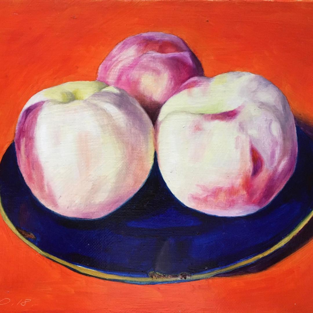 038, 세 개의 복숭아, 27 x 22 cm, oil on canvas