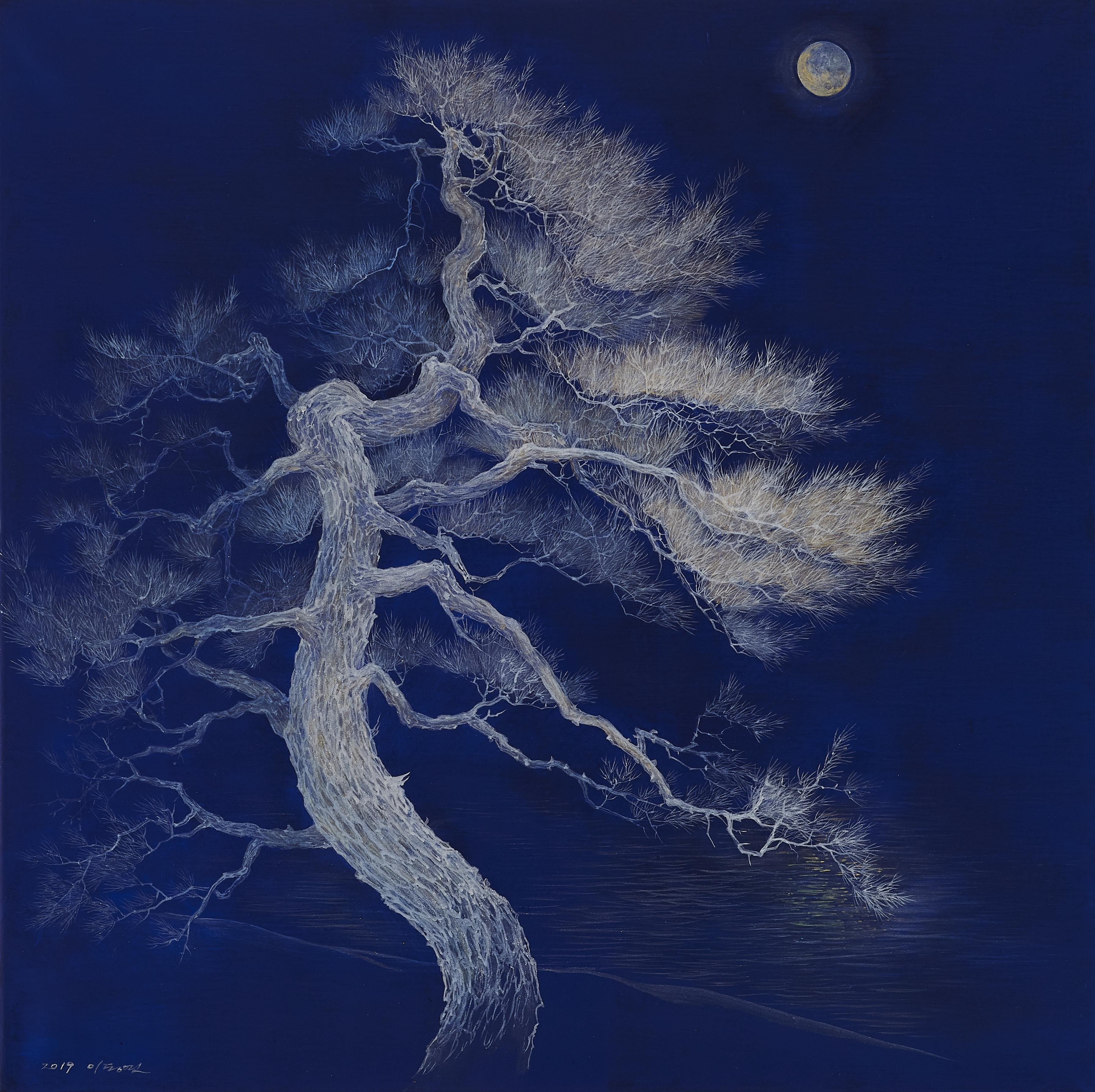 이동연_월광(月光).60x60cm.한지,채색,금분,은분