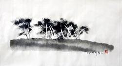 남도의 바람, 42x21cm, 한지에 수묵, 2017
