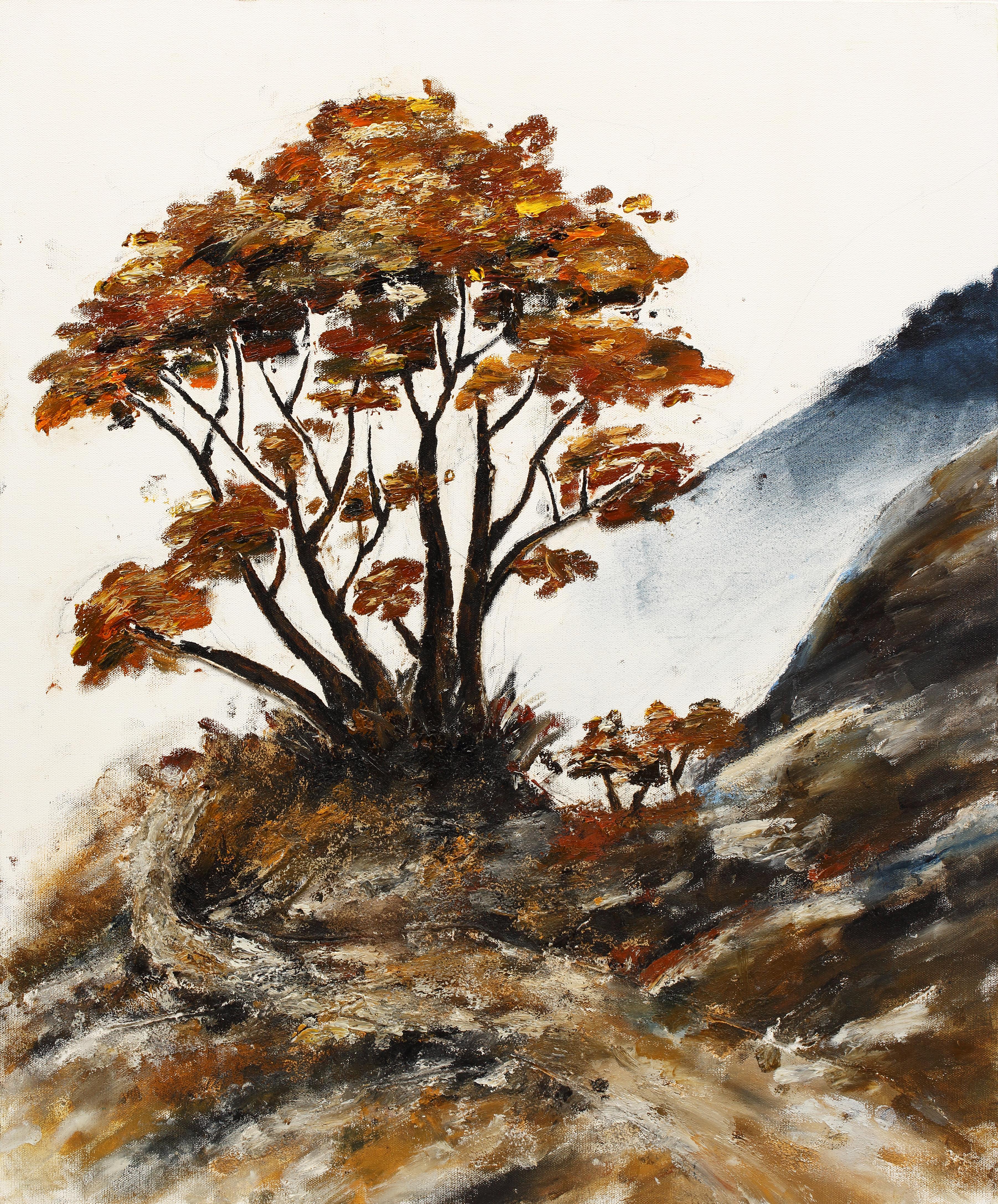 11. 가을, 60x73cm, 캔버스에 흙, 실, 청바지, 2014