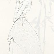 4. 베갯송사, 72.5x34.5cm, 한지위에 채색 & 콜라주, 201