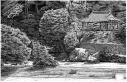 035, 안충기, 장흥 부춘정, 56 x 37 cm, 종이에 먹펜, 20