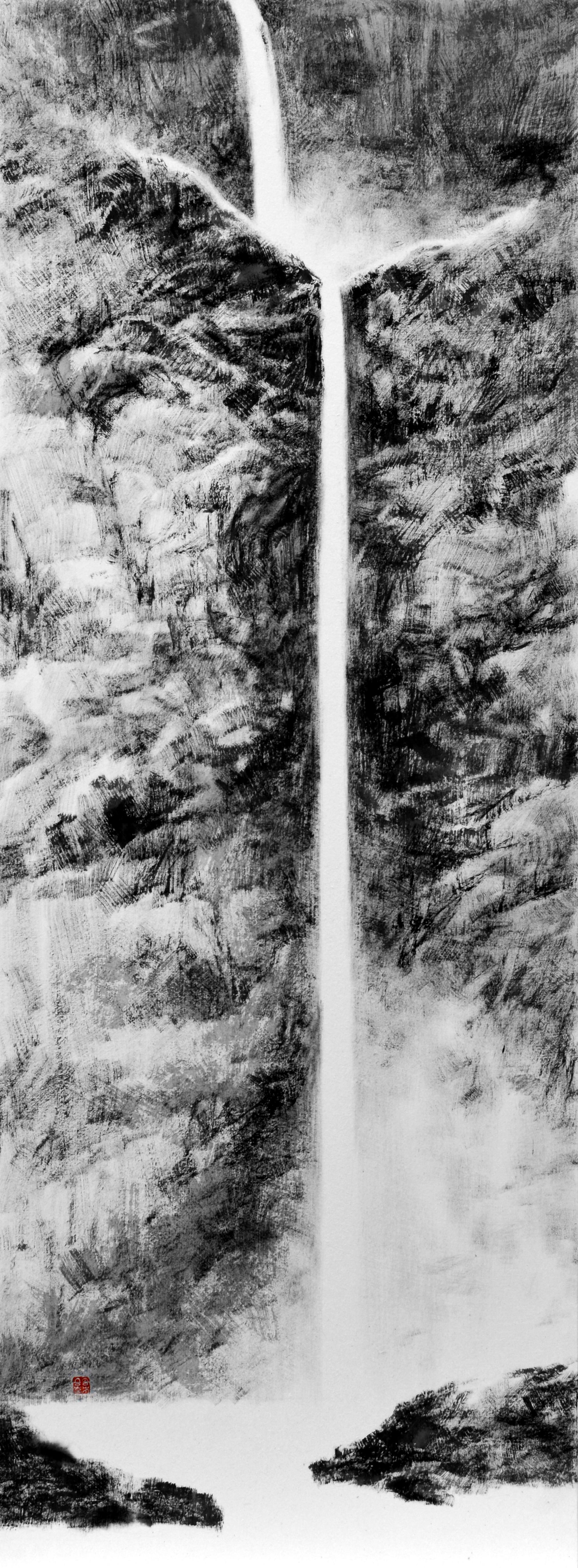 틈2,  122x45cm,  화선지에수묵,  2016