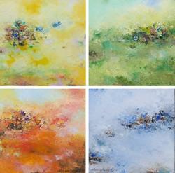 012, 권영범, 어떤여행 (사계), 각 27 x 27 cm (4점), Oil on canvas, 2021, 480만원