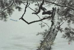 001, 송승호, 이호동의 하늘, 73 x 50 cm, 한지에 수묵, 2