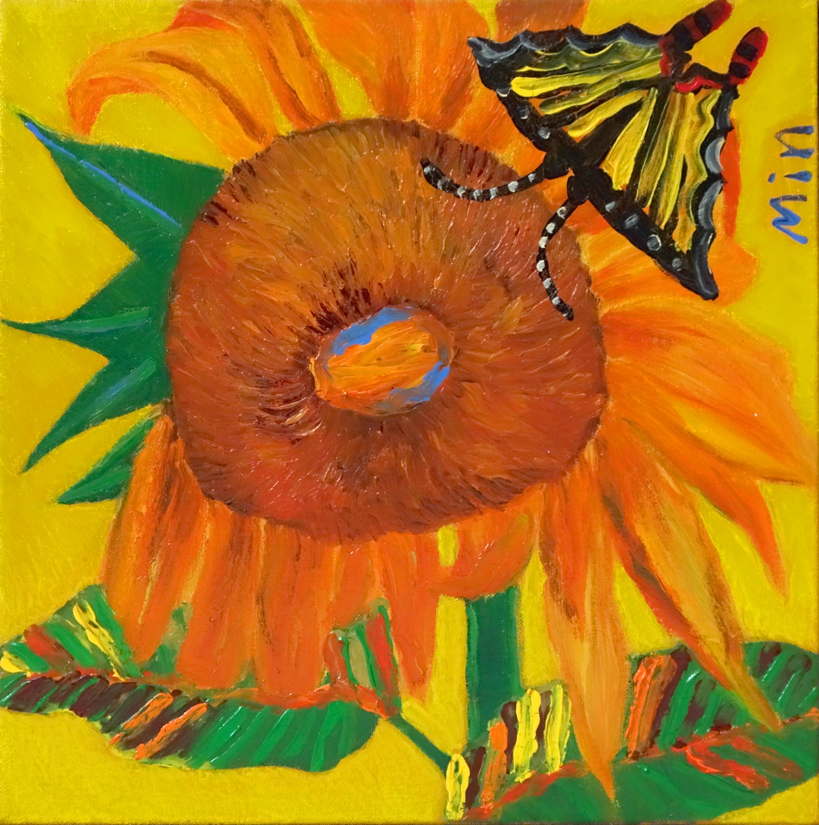 민해정수1, 해바라기, 32 x 32 cm, oil on canvas,