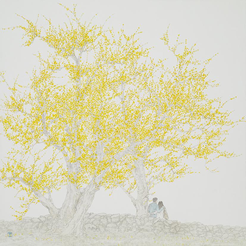 임태규 흐린 풍경-봄 봄1 연작 80X80 한지 위에 백토 수묵담채 20