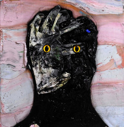 ugly duckling 17, 32cm x 32cm, oil. plastic. latex gloves, dirt and dust, cement on canvas, 2017