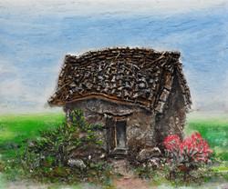 9. 외딴집, 72x61cm, 캔버스 위에 흙, 실, 청바지, 2016