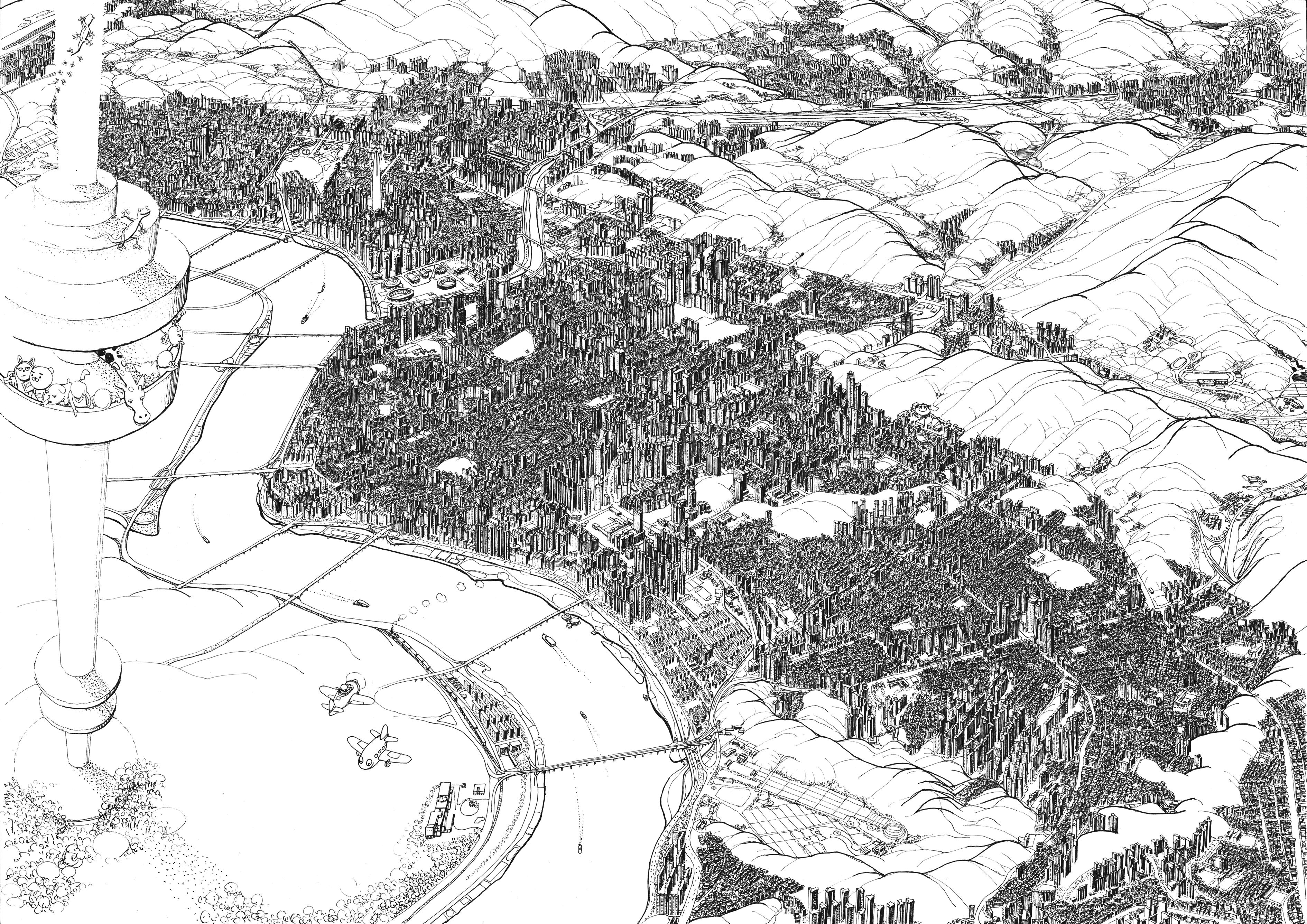 008, 안충기, 비행산수-서울 강남, 70 x 49 cm, 종이에 먹펜