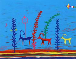 003, 최윤희, Mind map 21-19, 32 x 41 cm, 캔버스에 아크릴, 색동천, 2021, 100만원