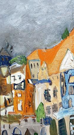 최수란, 루체른 시가지, 20 x 40 cm, oil on canvas,