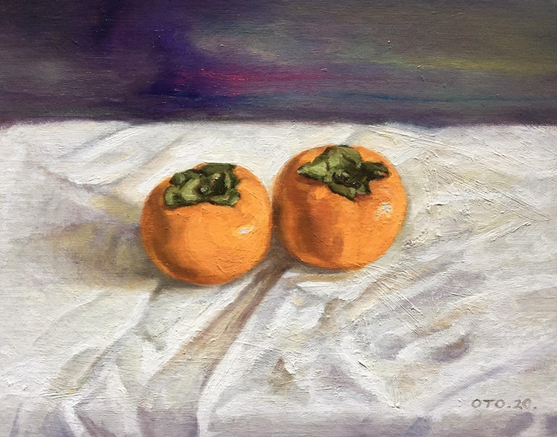 박재웅4, 두 개의 감, 33 x 28 cm, oil on canvas,
