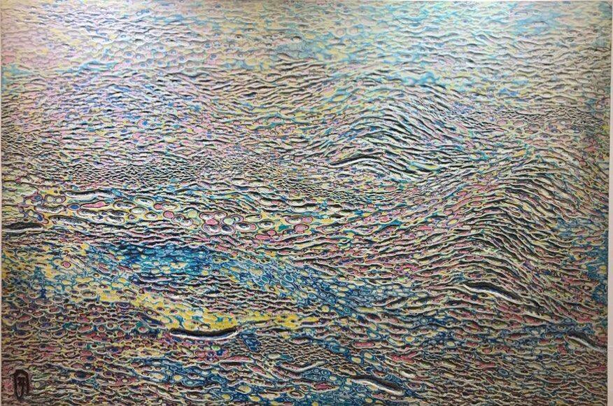 002, 김재신, 바다, 145 x 97 cm (80호), 나무판 위에