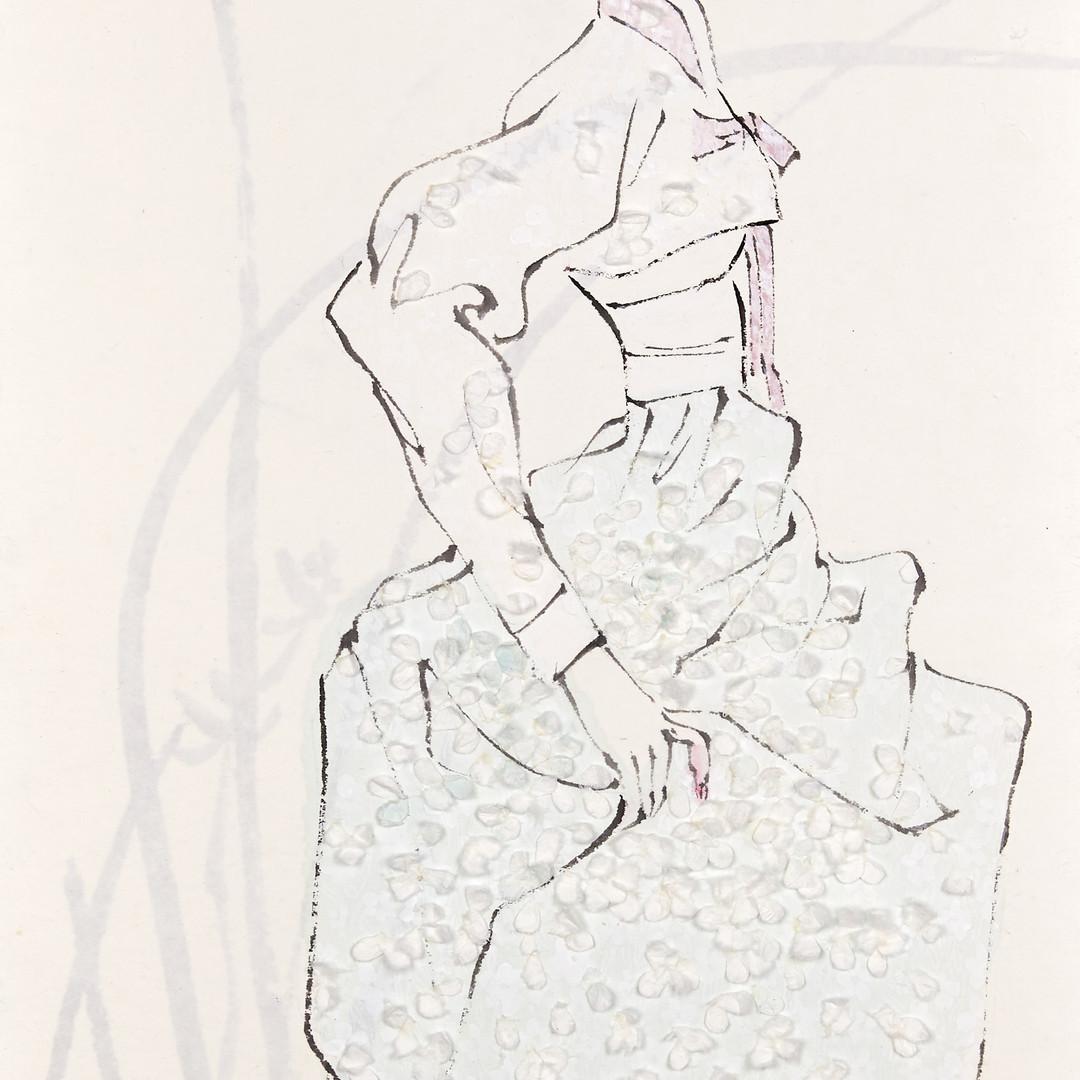 2. 베갯송사, 72.5x34.5cm, 한지위에 채색 & 콜라주, 201