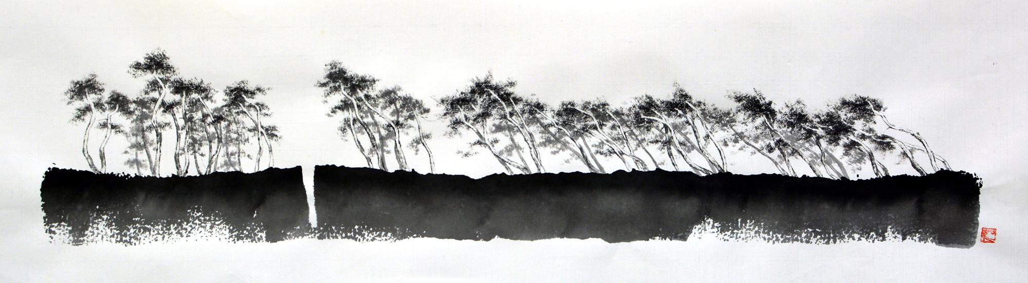 형제섬1, 67.5x19cm, 화선지에 수묵, 2016