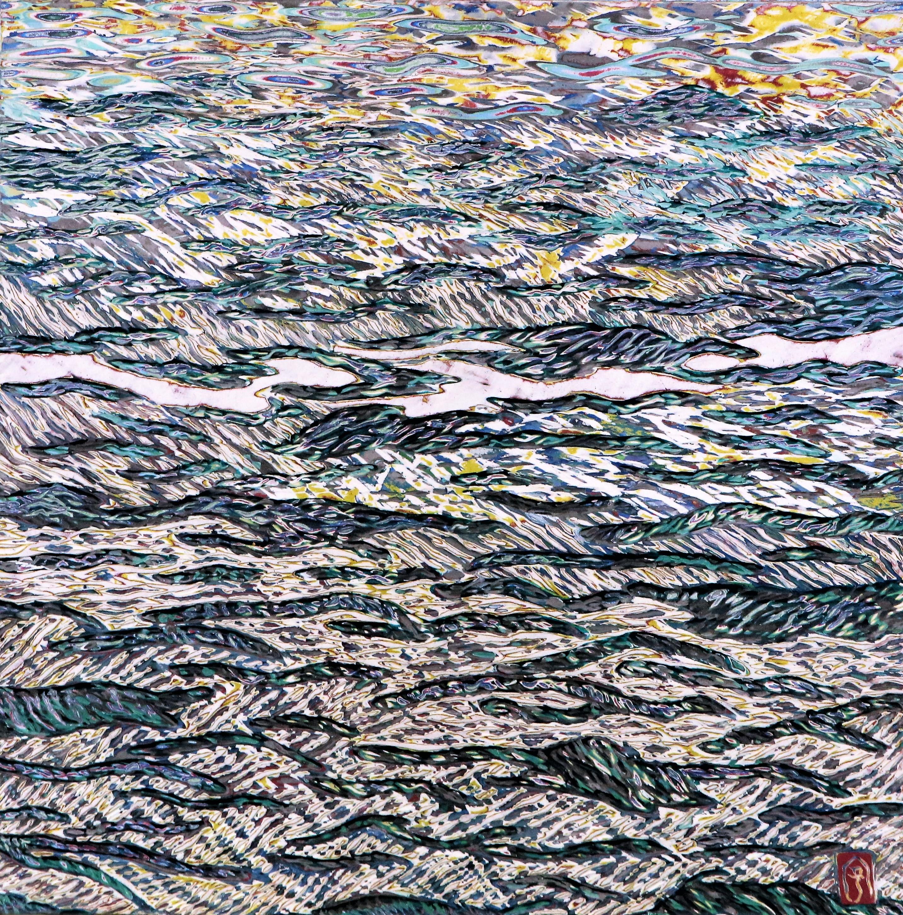 바다, 48.5x48.5cm, 조탁기법, 2017