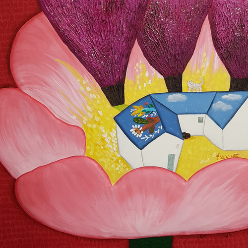꽃그늘, 53×45cm, Mixed media on canvas, 2018