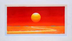 Sunrise - Faith,  Hope  and  Love, 74.5x43cm,  Acrylic , mixture  on  Wood, 2016