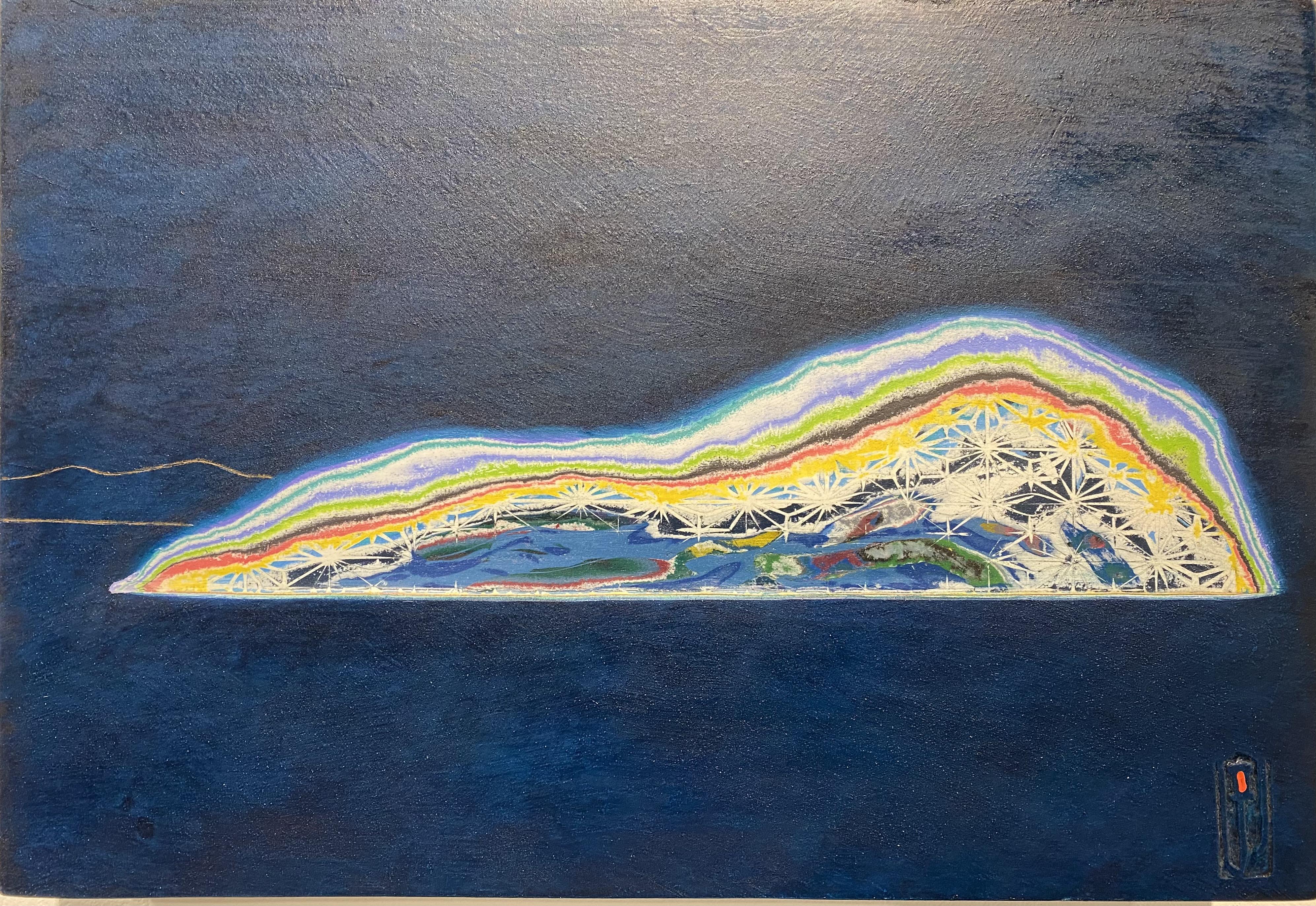 009 김재신, 섬, 32 x 41 cm(6호), 나무판 위 색조각, 2
