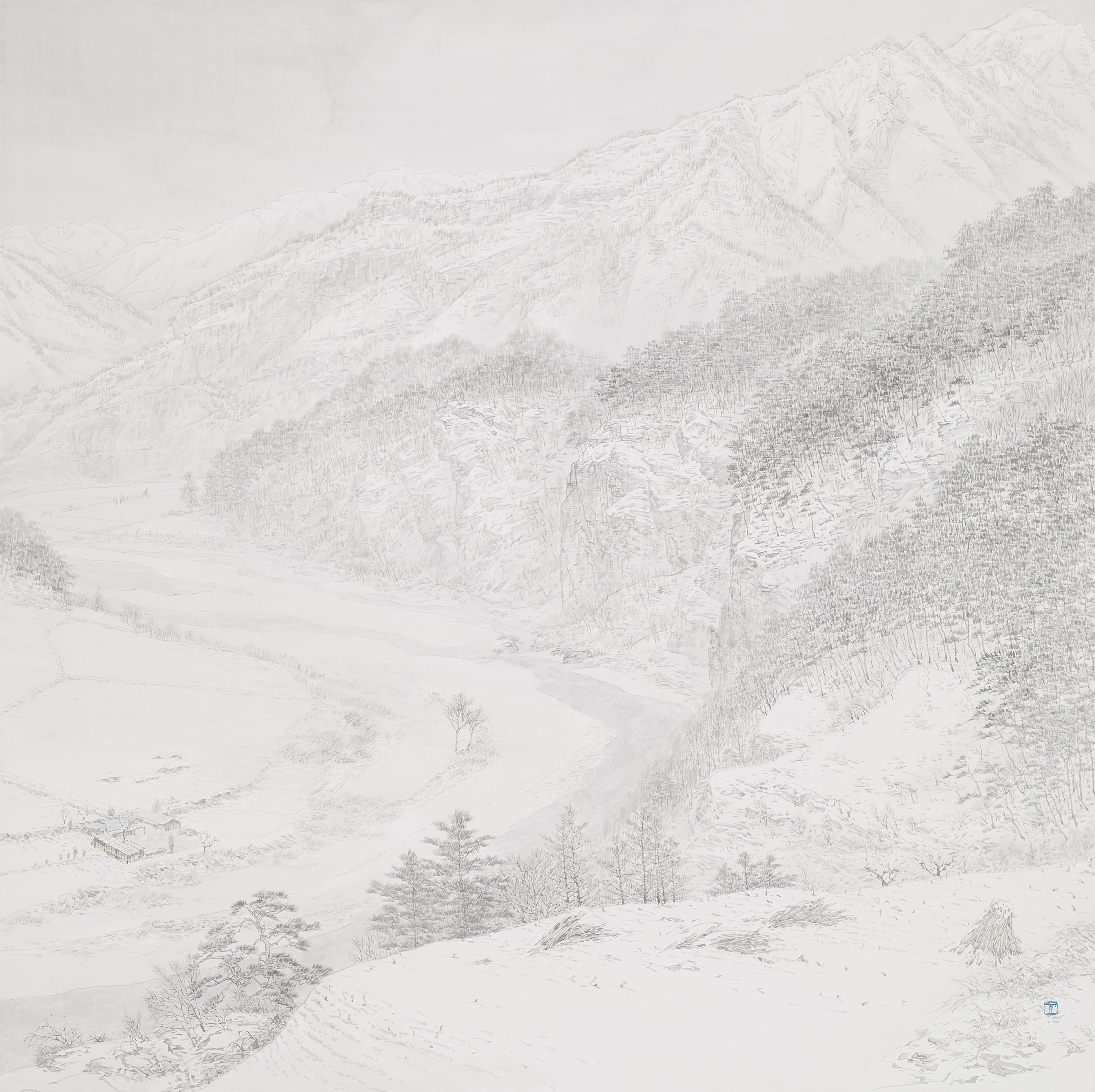 017, 임태규, 흐린풍경-정선, 120 x 120 cm, 한지 위에 백
