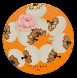 007, 황미정, 분첩2021-05, 18 x 18 cm, Acrylic