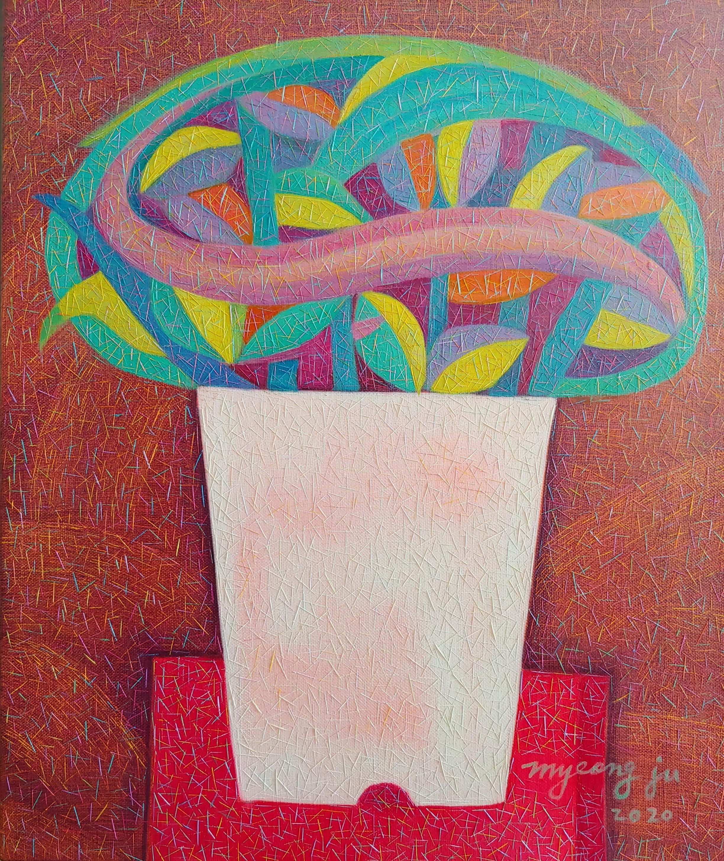 차명주3, 붉은 테이블 위 화분, 45.5 x 37