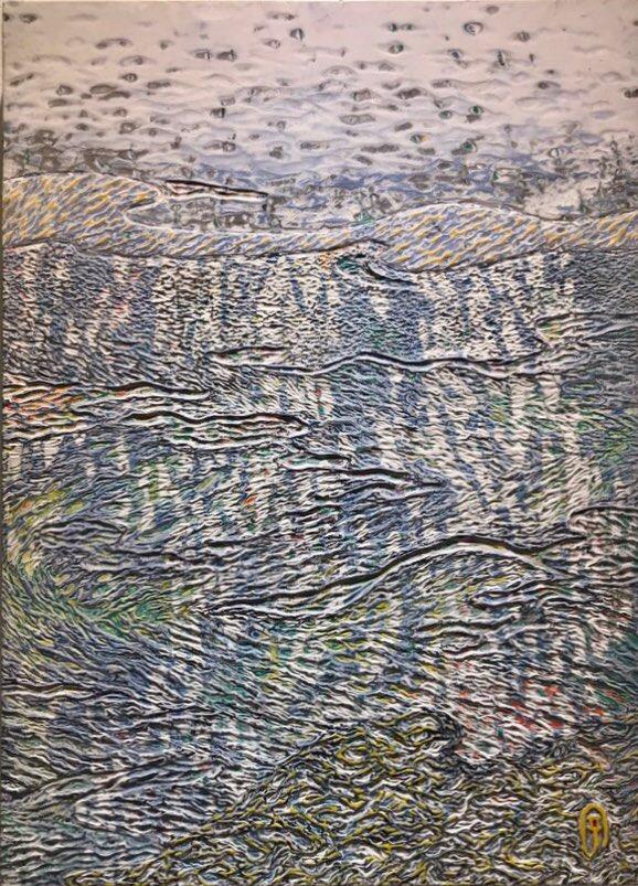 003, 김재신, 바다, 53 x 73 cm (20호), 나무판 위에 색