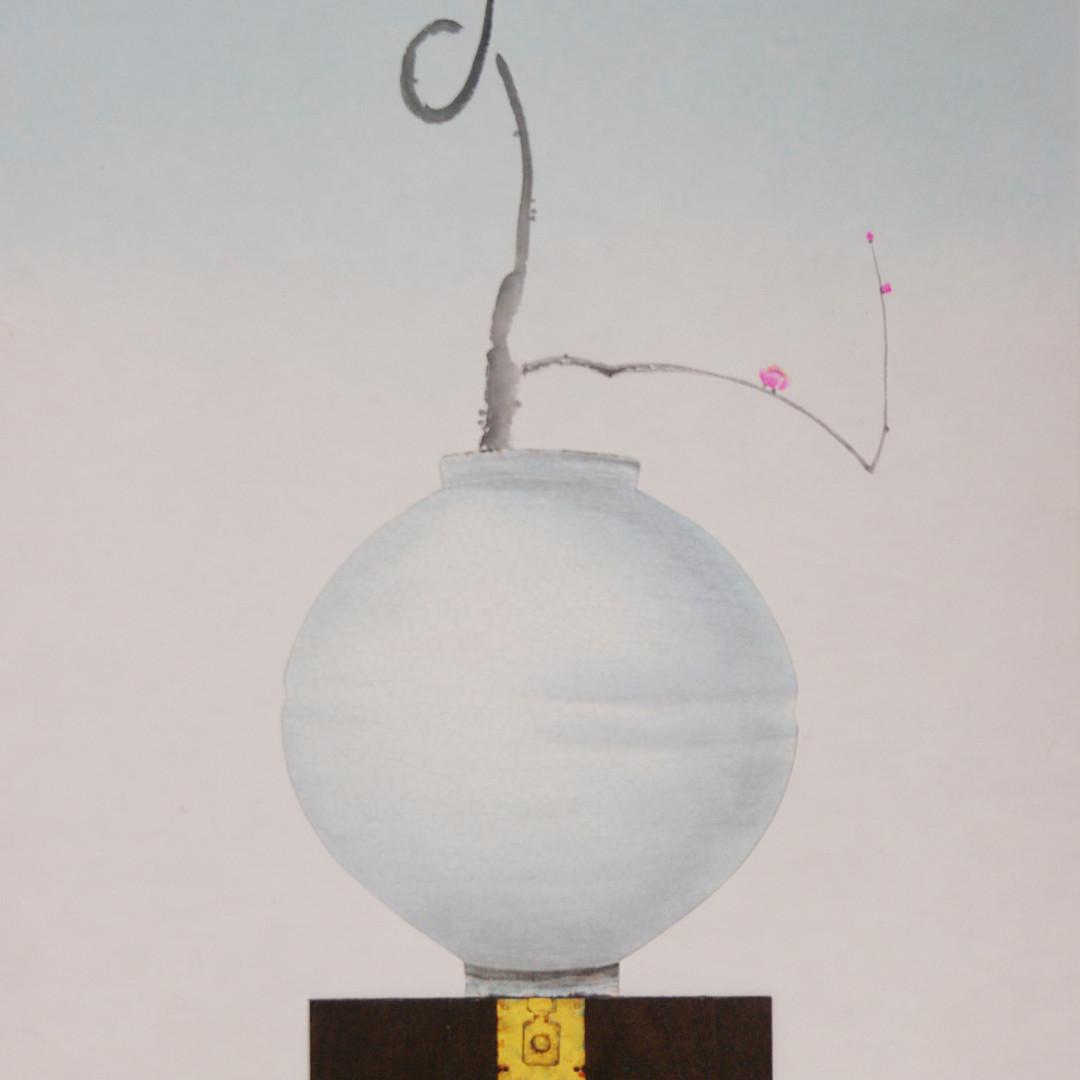 004, 비움과 채움(복을담다), 62 x 99 cm, 한지에 혼합재료,