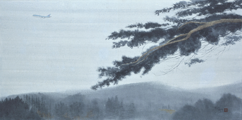 송승호, 굿모닝 태백, 50 x 100 cm, 한지에 청묵, 2020,