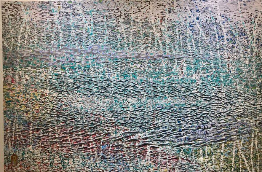 015, 김재신, 바다, 145 x 97 cm (80호), 나무판 위에