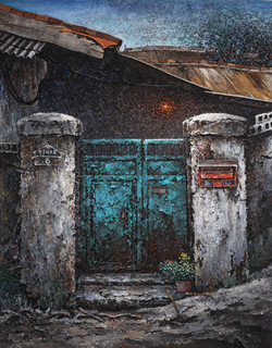 3-1. 녹슨대문, 166x91cm, mixed media oldwood on canvas, 2013