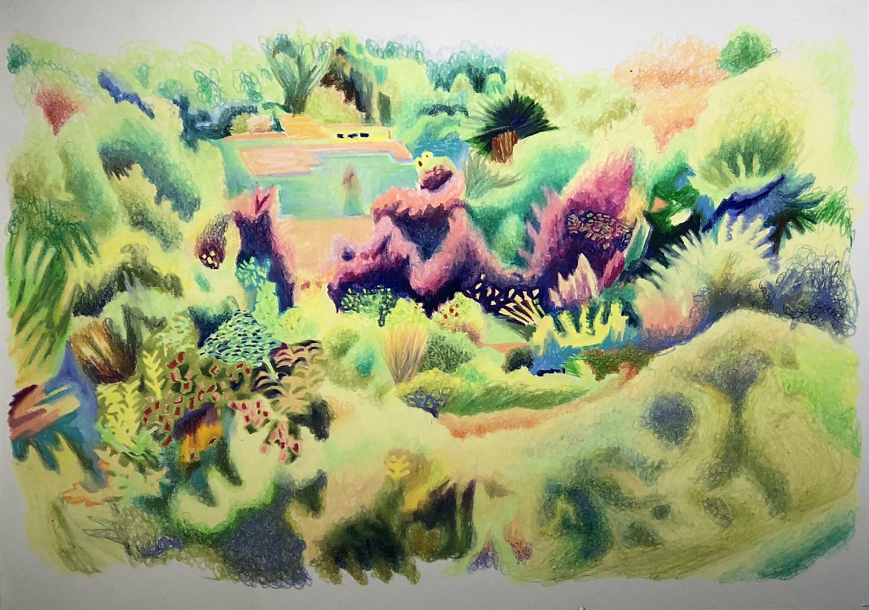 김선희, 숲으로 숲으로, 36 x 51, 종이에 수채 파스텔