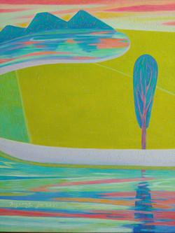 015, 차명주, 노을 진 들판, 60.6 x 50.0 cm, oil on canvas, 2021, 300만원
