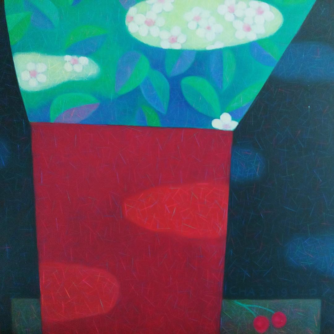 001, 차명주, 앵두꽃, 53.0 x 45.5 cm, oil on ca