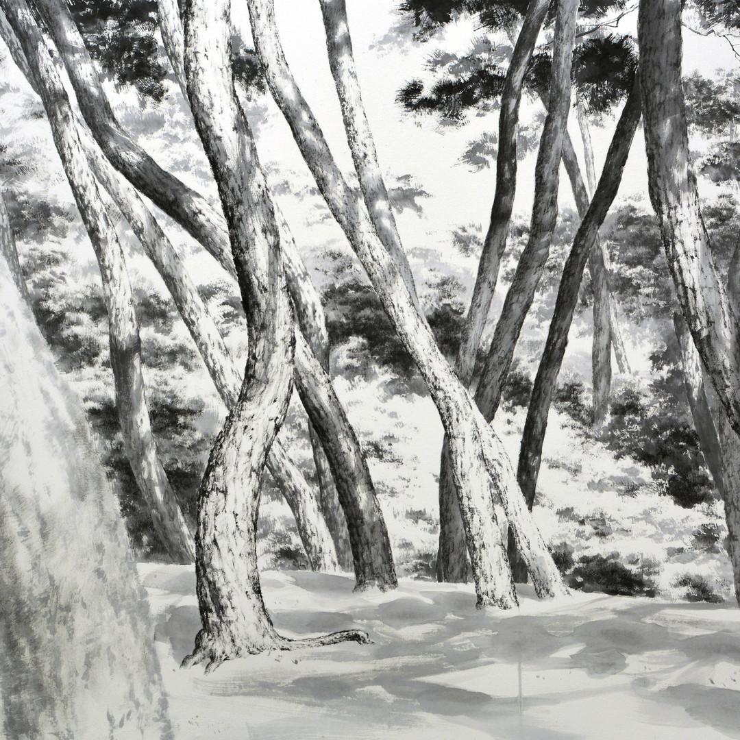 005, 망중한, 195x122cm, 화선지에 수묵, 2016.JPG