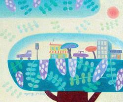 (차명주 3) _ 아카시 마을, 60.6x50cm, oil on canvas, 2009