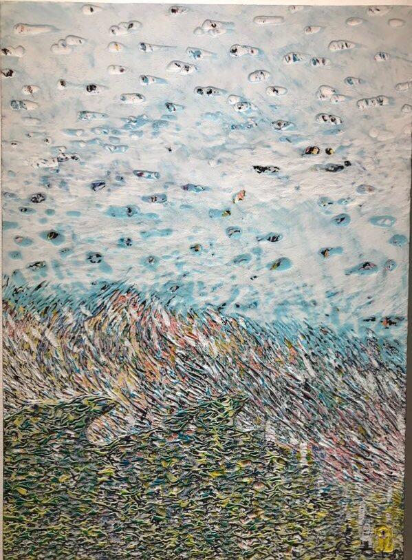 016, 김재신, 바다, 53 x 73 cm (20호), 나무판 위에 색
