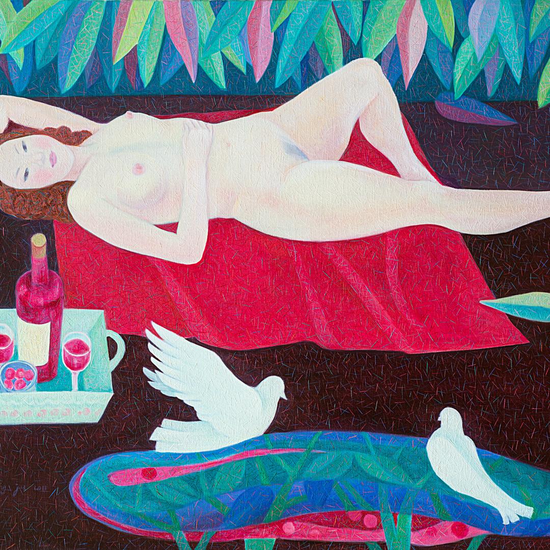 014, 와인피크닉.90.9×72.7.oil on canvas.2011.