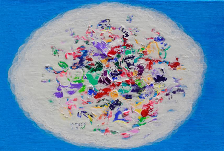 2이경성, 떨기나무-처음사랑, 캔버스위에 소멸침식벽화기법, 40.9 x 27.3 cm(6호) 2016