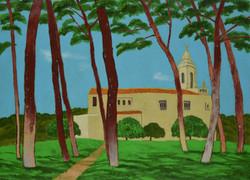 소나무와 동백이 있는 예배당, 62.2x86