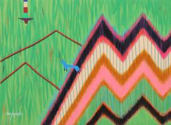 005, 최윤희, Mind map 21-18, 33.4 x 45.5 cm, 캔버스에 아크릴, 색동천, 2021, 120만원