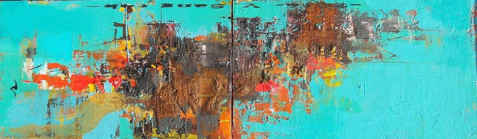 적벽강의 서정, 27x92cm, Acrylic on oil, 2016(1)
