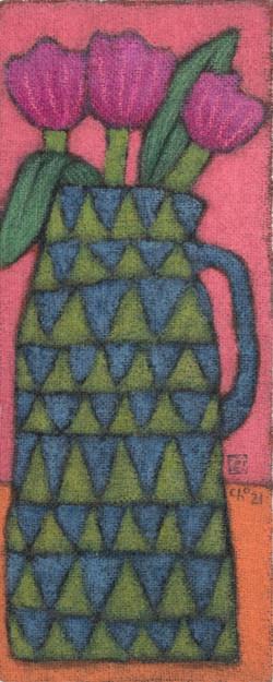 조수정2, 세송이 튤립, 황마캔버스에 혼합재료, 64 x 26 cm, 2