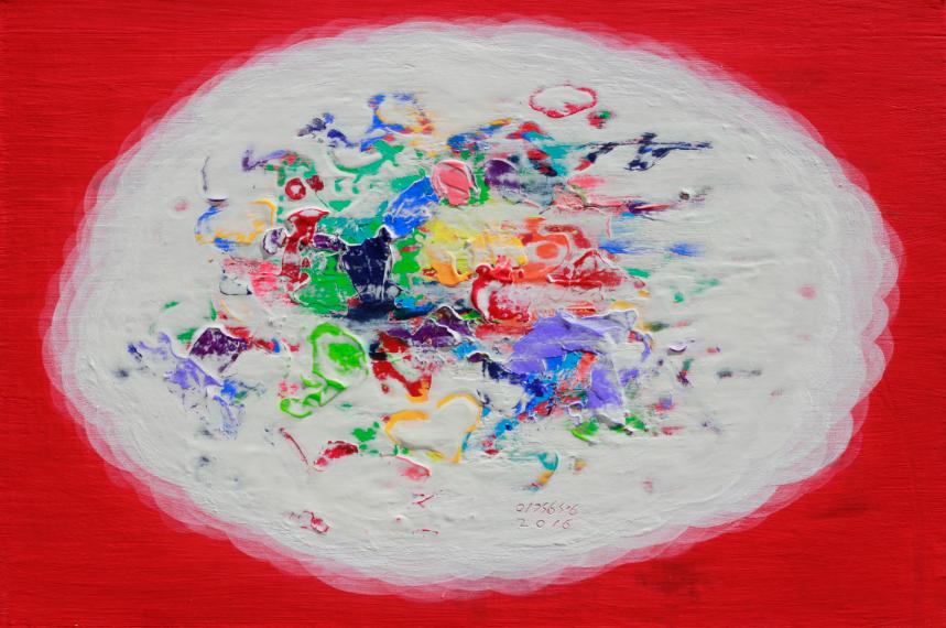 3이경성, 떨기나무-처음사랑, 캔버스위에 소멸침식벽화기법, 40.9 x 27.3 cm(6호) 2016