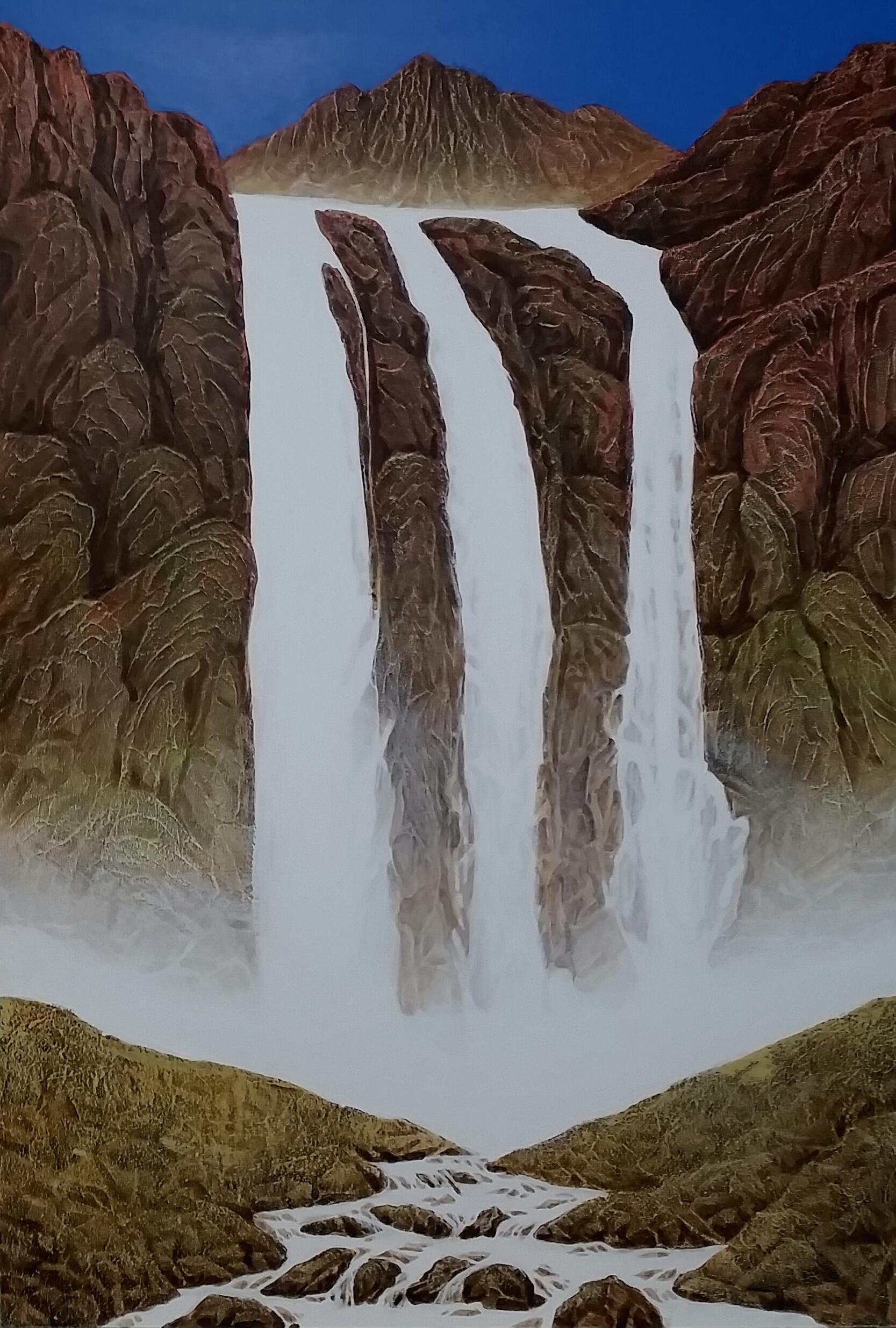 백두산 비룡폭포 130cmx89cm   혼합재료 2016 1200만