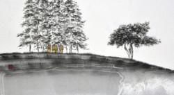 (송승호 1) _ 거린사슴목장_ 34x62cm, 종이에 수묵담채, 2018